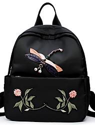 Недорогие -Жен. Мешки Полиэстер Нейлон рюкзак Вышивка Молнии для Повседневные Все сезоны Черный