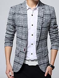 cheap -Work Casual Spring Regular Blazer, Geometric V Neck Polyester