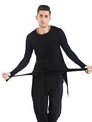 cheap -Latin Dance Tops Men's Performance Spandex Ruffles Long Sleeves Natural Top