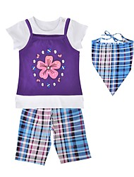cheap -Girls' Daily Sports Plaid Clothing Set, Cotton Spring Summer Short Sleeves Casual Active Purple