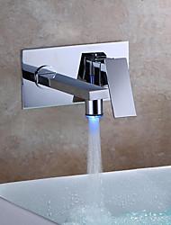 abordables -Moderne Montage mural LED Soupape céramique Mitigeur deux trous Chrome, Robinet lavabo