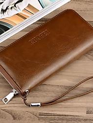 cheap -Men's Bags PU Wallet Zipper for Casual Black / Khaki