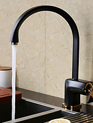 abordables -Décoration artistique/Rétro Débit Normal Set de centre Séparé Soupape céramique Mitigeur un trou Chrome, Robinet de Cuisine