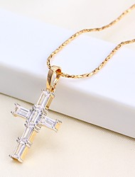 cheap -Men's / Women's Pendant Necklace / Chain Necklace - Rose Gold Plated Cross Basic Rose Gold Necklace For Causal, Daily