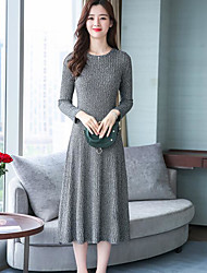 cheap -Women's Daily Wear Simple Swing Dress,Solid Round Neck Midi Long Sleeve Cotton Spring Fall Mid Rise Micro-elastic Opaque