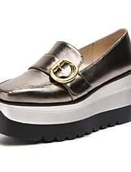 abordables -Femme Chaussures Polyuréthane Printemps / Eté Confort Mocassins et Chaussons+D6148 Creepers Bout carré Boucle Or / Noir