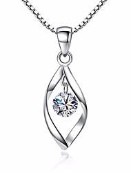 Недорогие -Жен. Синтетический алмаз Ожерелья с подвесками - Циркон В форме листа Винтаж, Мода Серебряный Ожерелье Назначение Повседневные, Праздники