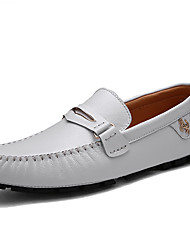 Недорогие -Печать Оксфорд Наппа Leather Весна / Осень Удобная обувь / Мокасины Мокасины и Свитер Белый / Черный / Синий / Для вечеринки / ужина