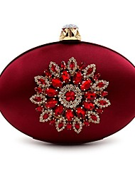 cheap -Women's Bags Silk Evening Bag Crystal Detailing Flower for Wedding Event/Party All Seasons Blushing Pink Dark Blue Purple Dark Green Wine