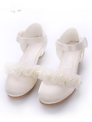 cheap -Girls' Shoes Lace Satin Spring Summer Tiny Heels for Teens Heels Imitation Pearl Appliques Magic Tape for Wedding Party & Evening Beige