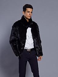 Недорогие -Муж. Повседневные На выход Зима Осень Обычная Пальто с мехом Рубашечный воротник, Винтаж На каждый день Леопард Искусственный мех Меховая