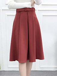 cheap -Women's Casual/Daily Knee-length Skirts,Simple Pencil Pleated Solid Winter Fall
