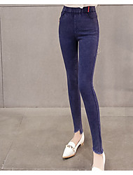cheap -Women's Pure Color Polyester Opaque Solid Color Legging,Solid Blue