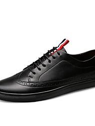 Cipele Prava koža Koža Proljeće Jesen Udobne cipele Cipele za ronjenje Sneakers za Kauzalni Crn