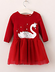 cheap -Girl's Daily Patchwork Swan Dress,Rayon Polyester Spring Fall Long Sleeves Cartoon Princess Navy Blue Red