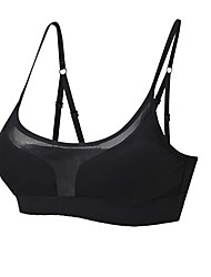 cheap -Strappy / See Through Sports Bra Padded Light Support For Yoga - Black Stretchy Women's Nylon, Mesh