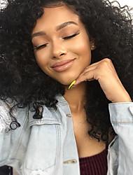 preiswerte -Remi-Haar Spitzenfront Perücke Brasilianisches Haar Kinky Curly Mit Strähnen 100% Jungfrau Natürlicher Haaransatz Kurz Medium Lang 150%