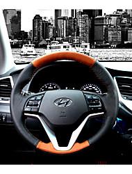 cheap -Steering Wheel Covers Genuine Leather 38cm Black / Black / Brown For Hyundai New Tucson 2015 / 2016 / 2017