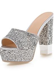 preiswerte -Damen Schuhe Paillette Sommer Herbst Komfort Pumps Sandalen Blockabsatz Peep Toe Paillette für Kleid Party & Festivität Gold Weiß Schwarz