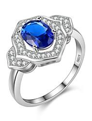 preiswerte -Damen Bandring Kubikzirkonia 1pc Weiß Dunkelblau Grün Hellblau Zirkon Silber Geometrische Form Retro Grundlegend Modisch Hochzeit
