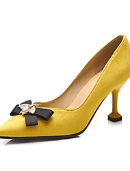 cheap -Women's Shoes Flocking Spring Fall Basic Pump Heels High Heel Pointed Toe Bowknot for Dress Office & Career Black Yellow