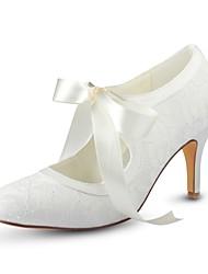 preiswerte -Damen Schuhe Stretch - Satin Frühling Herbst Pumps Hochzeit Schuhe Stöckelabsatz Runde Zehe Band-Bindung für Hochzeit Party & Festivität