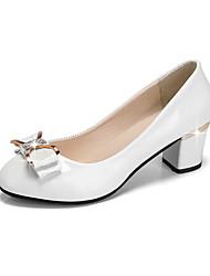 Недорогие -Жен. Обувь Полиуретан Зима Осень Удобная обувь Туфли лодочки Обувь на каблуках На толстом каблуке Круглый носок для Для праздника Белый