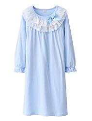 Недорогие -Девичий Платье Однотонный Длинный рукав Уличный стиль Розовый Светло-синий Светло-голубой