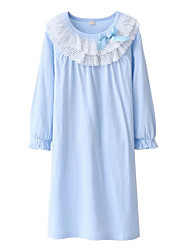 cheap -Girl's Solid Dress Long Sleeve Street chic Lavender Light Blue Blushing Pink