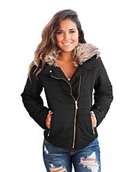 Недорогие -Повседневные Праздники Зима Куртка Рубашечный воротник,Простой Однотонный Короткая Длинные рукава,Полиэстер Спандекс,Меховая оторочка