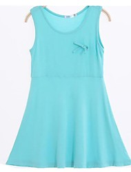 baratos -Menina de Vestido Sólido Verão Simples Azul Verde Laranja Amarelo