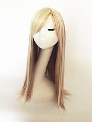cheap -Synthetic Wig kinky Straight Blonde With Bangs Synthetic Hair Highlighted / Balayage Hair Blonde Wig Long Capless