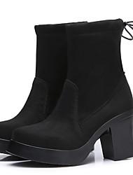abordables -Mujer Zapatos Piel Otoño / Invierno Botas Camperas / Botas de Combate Botas Tacón Cuadrado Botines / Hasta el Tobillo Negro