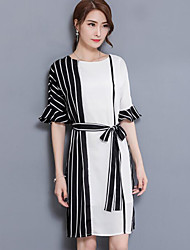 cheap -Women's Going out Cotton A Line Shirt Dress - Multi Color Color Block Artistic Style Heart Style Butterly Style