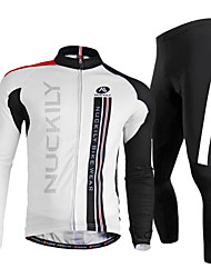 cheap -Nuckily Men's Long Sleeves Cycling Jersey with Tights - White Bike Clothing Suits, Quick Dry, Ultraviolet Resistant, Breathable,
