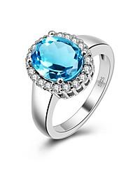 preiswerte -Damen Bandring Kubikzirkonia 1pc Grün Blau Zirkon Silber Geometrische Form Retro Grundlegend Modisch Hochzeit Verlobung Modeschmuck