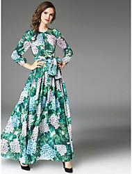 cheap -Women's Swing Dress - Floral High Waist Maxi