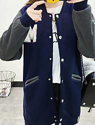 abordables -Femme Mao Longue Pull à capuche & Sweatshirt Couleur Pleine
