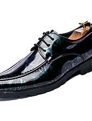 Недорогие -Муж. Печать Оксфорд Полиуретан Весна / Осень Удобная обувь Туфли на шнуровке Черный / Красный / Зеленый