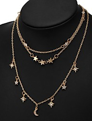 cheap -Women's Multi Layer Star Rhinestone Layered Necklace - Basic Multi Layer Moon Star Necklace For Daily Office & Career
