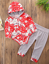 cheap -Girls' Daily Sports Floral Clothing Set, Cotton Polyester Spring Fall Long Sleeves Casual Active Chinoiserie Red