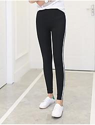 abordables -Femme Couleur Pleine Legging - Rayé Taille médiale
