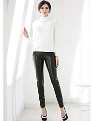 cheap -Women's Normal Mid Rise Micro-elastic Slim Pants, Simple Solid PU Spring