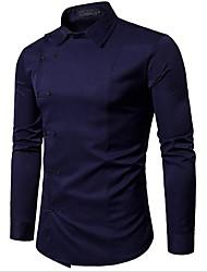 Недорогие -Муж. Рубашка Хлопок Однотонный / Длинный рукав