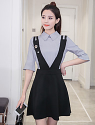 cheap -Women's Going out Casual/Daily Simple Little Black Dress,Solid Shirt Collar Above Knee Long Sleeve Cotton Acrylic Summer Fall High Waist