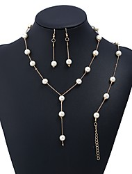 Недорогие -Жен. Серьги-слезки Ожерелья с подвесками Искусственный жемчуг Милая Мода Elegant Свадьба Для вечеринок Искусственный жемчуг Сплав