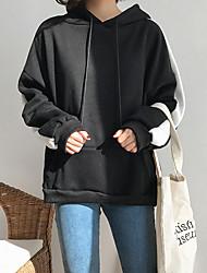 女性用 日常 パーカー ストライプ フード付き マイクロエラスティック コットン 長袖 冬 秋