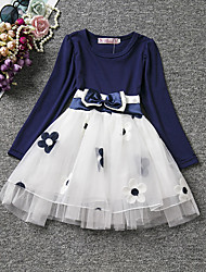 cheap -Girl's Daily Holiday Floral Dress, Cotton All Seasons Long Sleeves Cute Casual Blue Red Blushing Pink