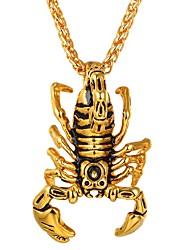 Недорогие -Муж. Жен. Ожерелья с подвесками - Нержавеющая сталь скорпион Хип-хоп Cool Золотой, Серебряный Ожерелье Бижутерия 1 Назначение Повседневные