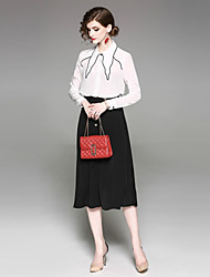abordables -Mujer Blusa - Color sólido Cuello Camisero Falda